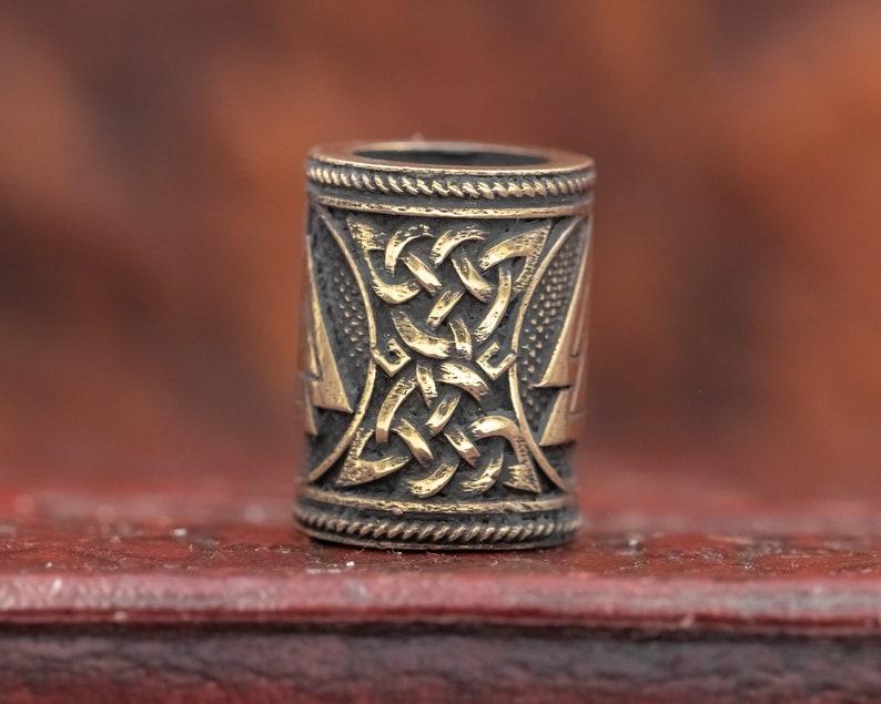 Bronze Valknut Viking Rune Hair Beard Bead