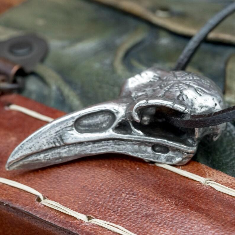 UK Handmade Pewter Helm of Awe Raven Skull Pendant image 1