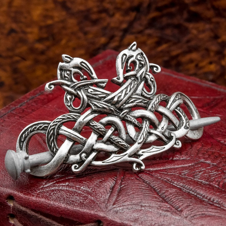 Norse Viking Celtic Jelling Style Double Dragon Hairpin Hair image 0