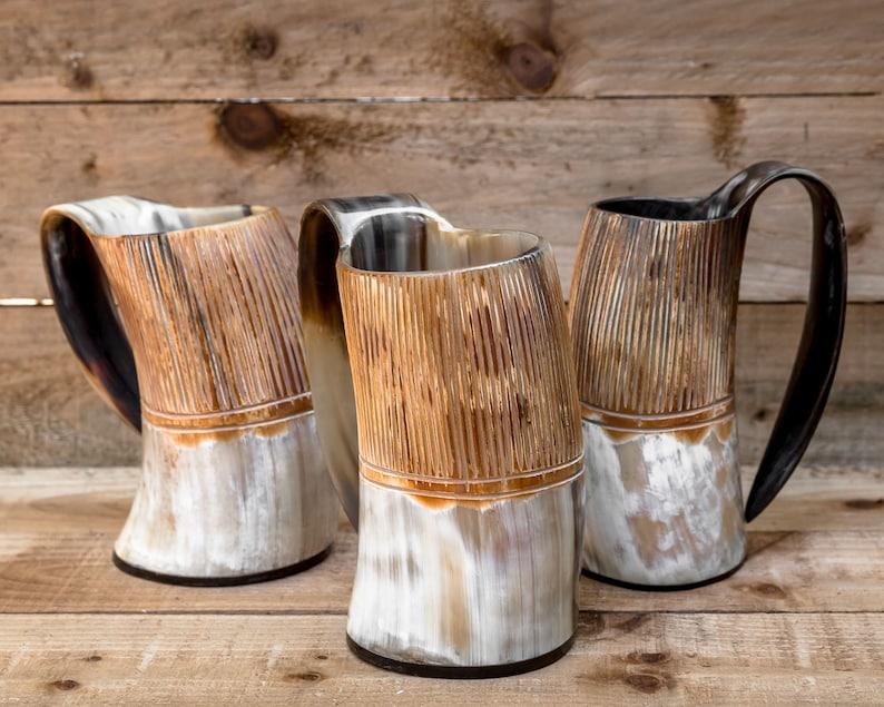 Carved Hand Made Viking LARP Horn Tankard Regular image 0