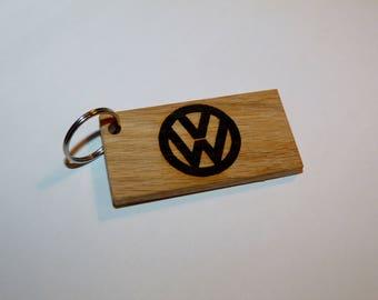 Wooden volkswagen keychain
