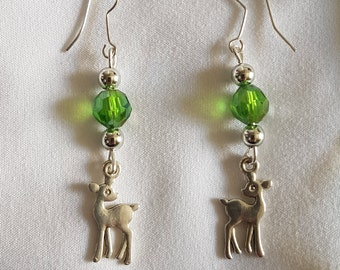 Deer / Fawn and Green Bead Earrings