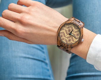 Wewood Wathes,Mens Wooden Watch,Engraved Wathes,Wwoor Watch,Natural Grain Wathes,Woodwatch,Wood Watch with Patterned,Watch for Women