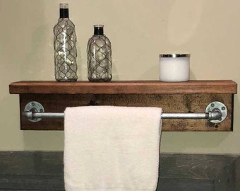 "Industrial Rustic 24"" Towel Bar and Shelf (Customizable)"