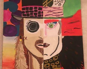 Acrylic Johnny Depp painting on canvas
