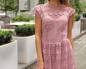 f2e63abb613 Pink Midi Macrame Lace Dress   Lace Bridesmaid Dress   Wedding Guest Dress    Lace Prom Dress   Lace Boho Dress   Tender Dress   Noellia