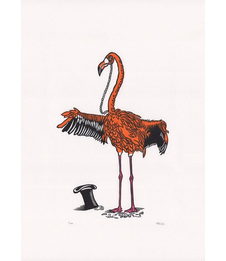Fabulous Flamingo Original Linocut Print Flamingo Print image 0
