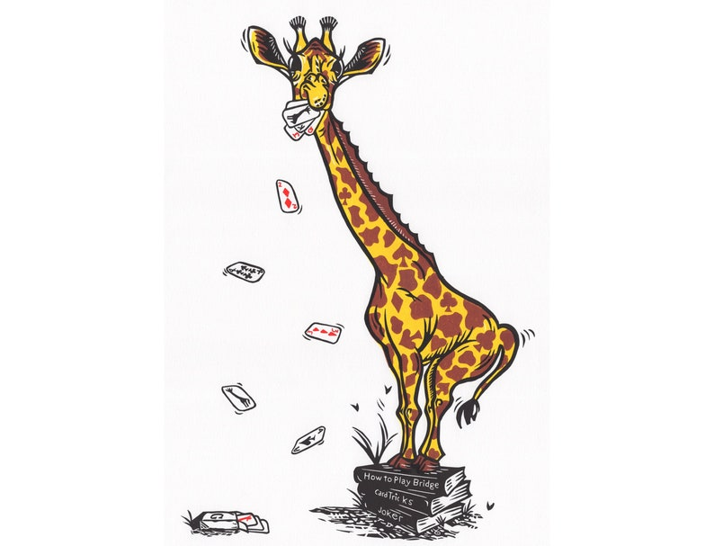 Joking Giraffe Original Linocut Print Giraffe Print Giraffe image 0