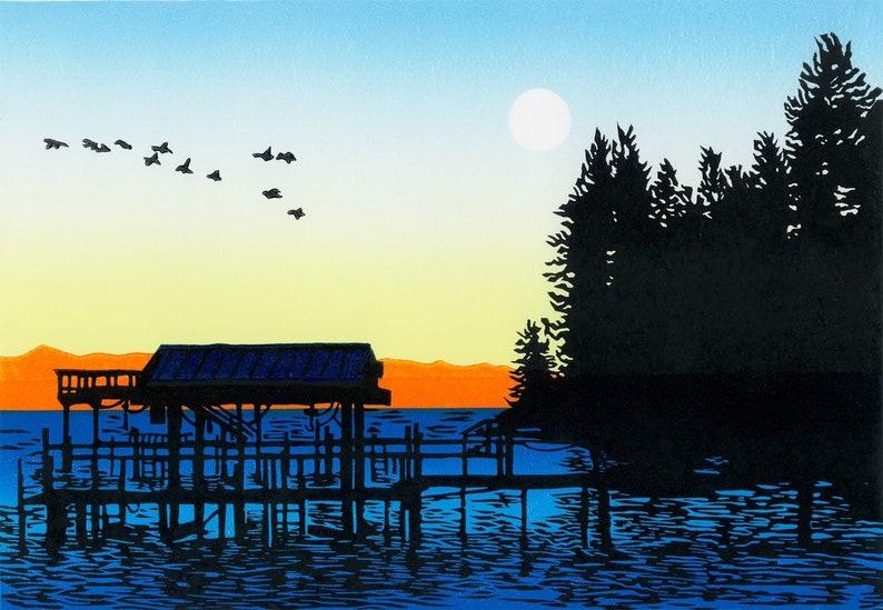 Lake Tahoe original linocut print image 0