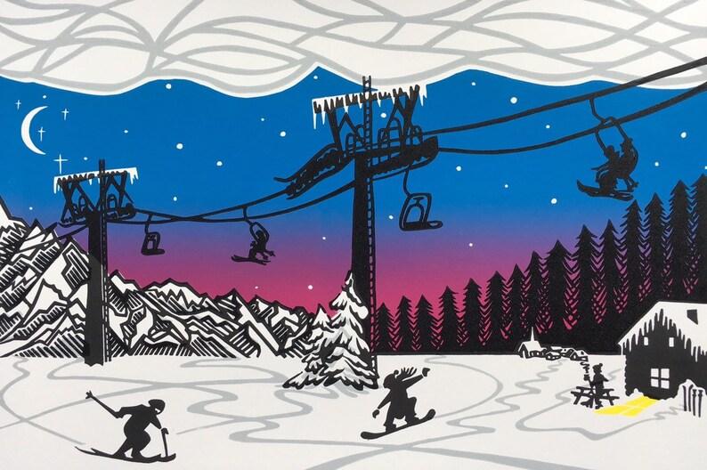Alpine Antics original linocut print  Purple Sunset image 0