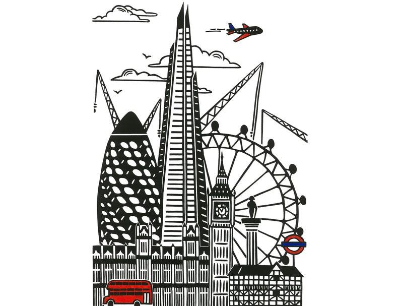 Silhouette City Original Linocut Print London Print London image 0