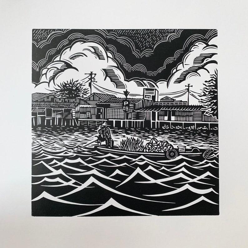 Banana Boat Original Linocut Print Vietnam Print Floating image 0