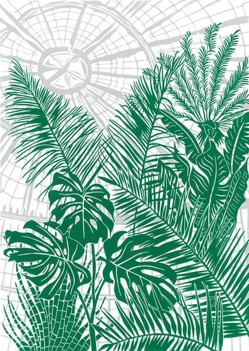 Botanical Gardens original linocut print image 0