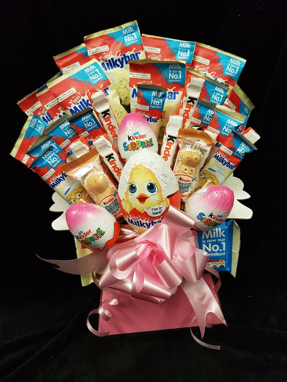 Kids kinder/milky bar mix easter hamper bouquet