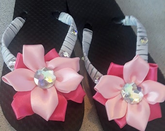 adeaa5a51 FREE SHIPPING Girls Youth Flower and Satin Ribbon Flip Flops with a Variety  of Color Options to Choose From - Design Your Own Colors