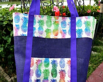 7fbca9f1d6 Tropical Multicolor Pineapples on beige Sandless Tote bag Purple Mesh Beach  Lake Pool Vacation Toys Towels Stylish