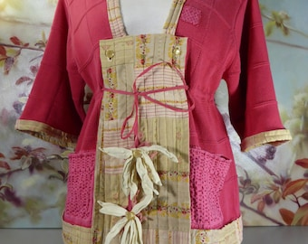 Upcycled Pink Cotton Sweater with Kimono Styling and Silk Flower Ornaments