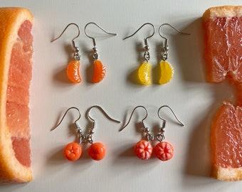 Giant Lightweight Mandarin Citrus Orange Earrings : Fruit