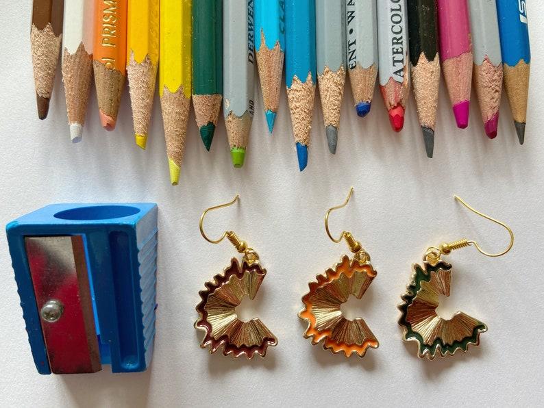 Pencil Shaving Earrings: School Teacher Student Artist image 0