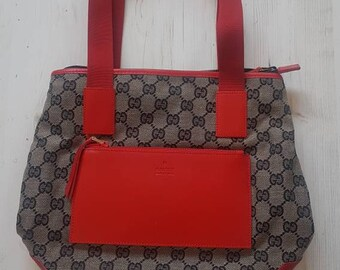 6721612664cf33 Gucci classic monogram canvas red leather vintage medium shopper tote bag  handbag logo top handle rare. Unused deadstock. Bucket
