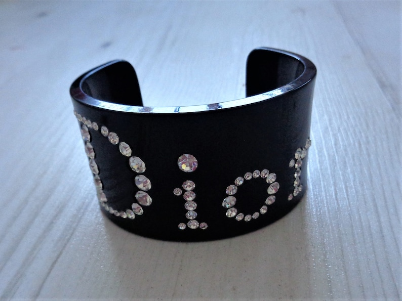 a2de2b870134a Christian Dior black lucite swarovski rhinestone cuff bracelet 1980's  designer vintage plastic rare wide perspex bangle