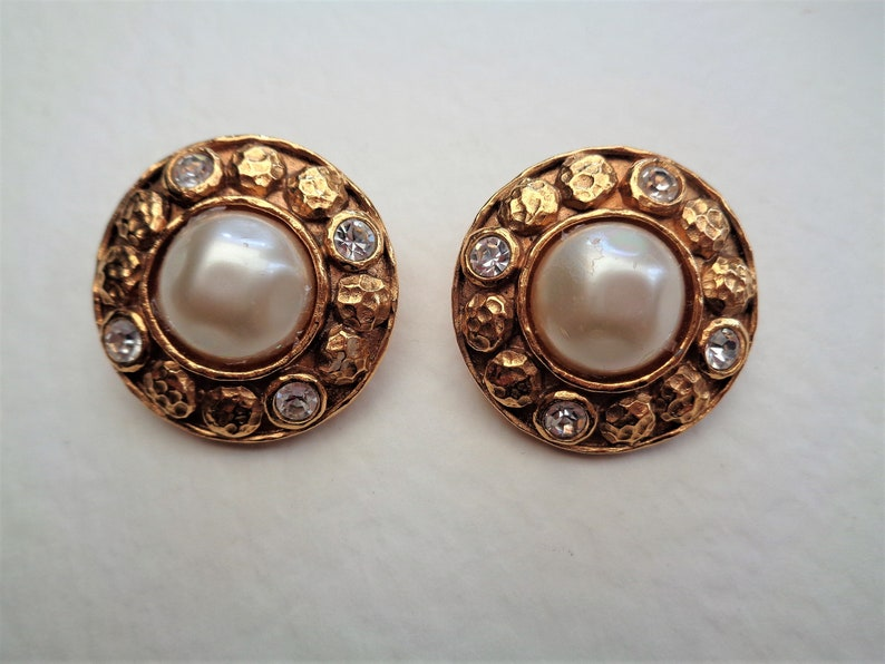 52febeab5decf Chanel vintage gold tone and faux pearl diamante large round clip on  earrings 1970s ladies original genuine