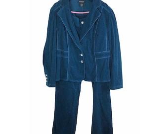 2X Vintage 1990s Lane Bryant Women's size 14 Teal Blue Corduroy Blue Pants Suit Blazer