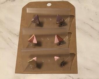 Minimaliste deux ton Triangle boucles d'oreille