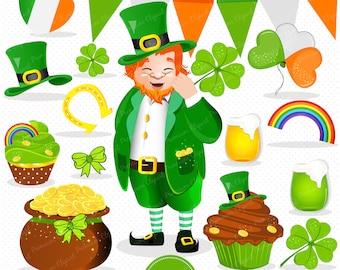 St Patricks day clipart, Leprechaun clip art, St Patrick graphics, Leprechaun digital image, Irish clipart - CA338