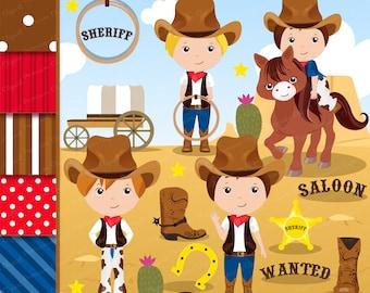 Cowboy clipart, Wild West Clipart, Wild West Party, Western Clipart, Boy Clipart, Western Graphics, Scrapbook paper - CL151