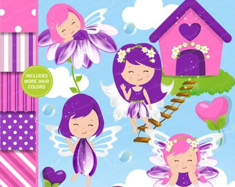 Spring fairy clipart, Spring clipart, Girl clipart, Fairy graphics, Scrapbook paper, Digital graphics, Commercial use - CL142