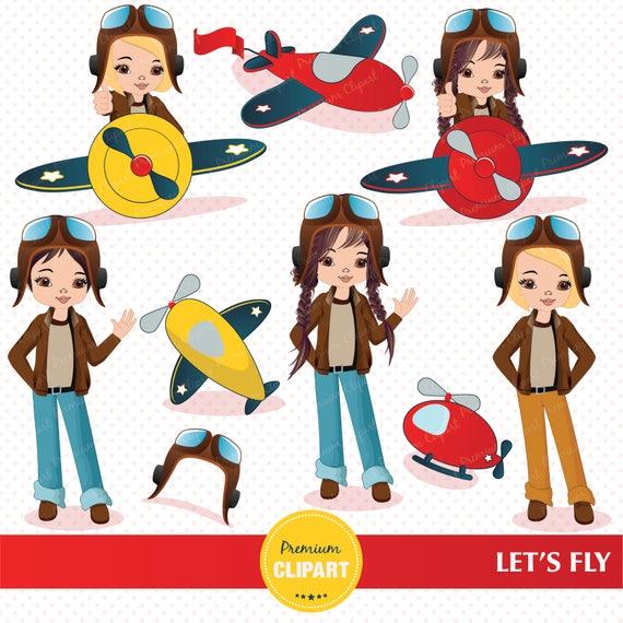 Little pilot graphics, Pilot girl illustrations (278528) | Illustrations |  Design Bundles