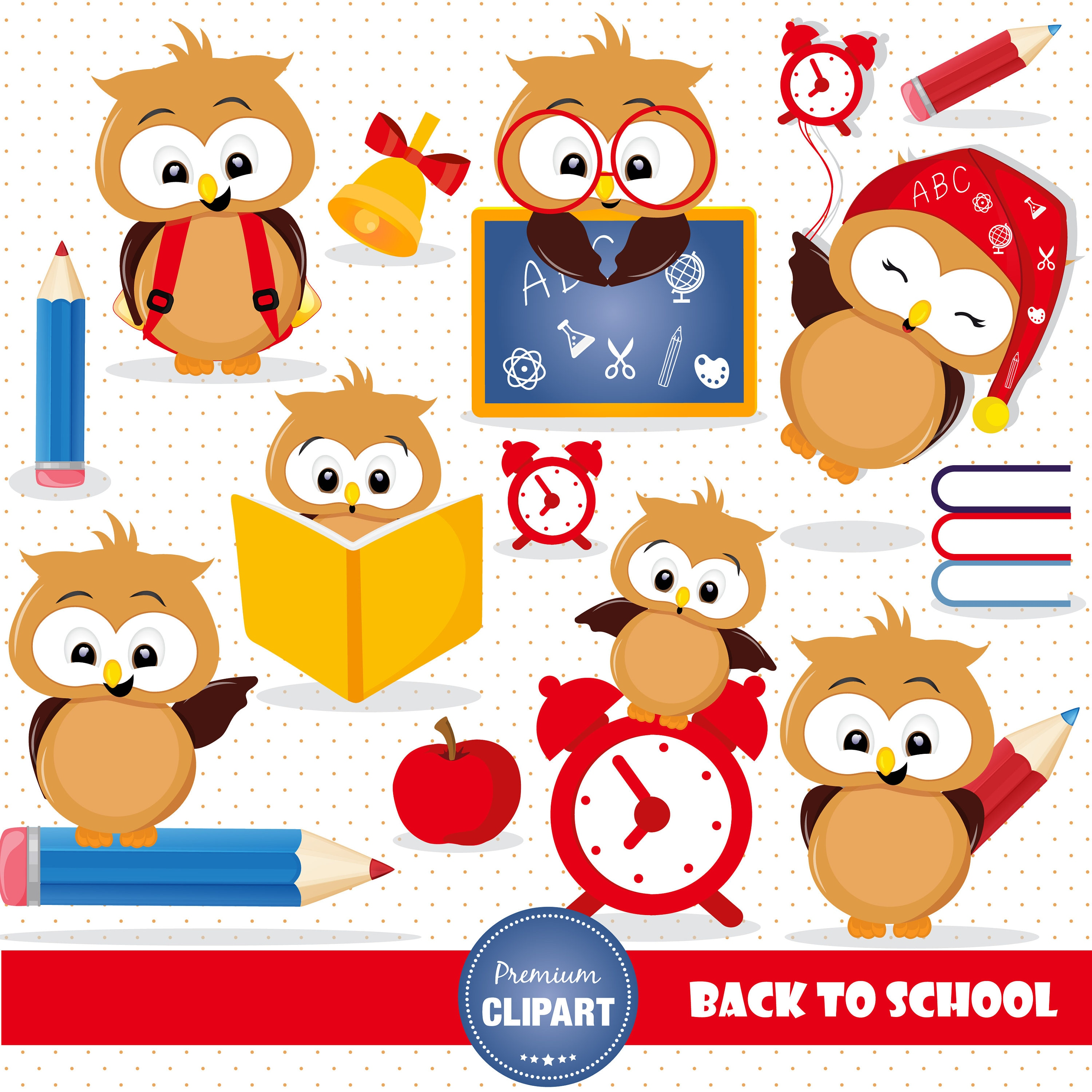 back to school owl clipart owl clipart school clipart | etsy
