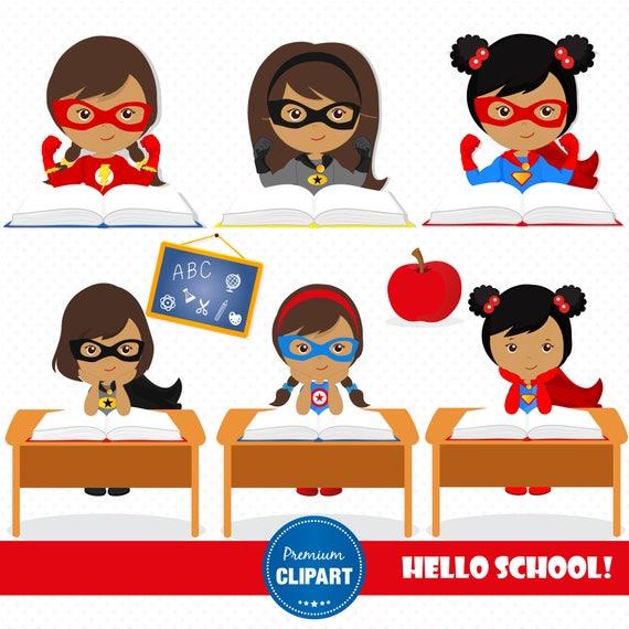Superhero clipart Back to school clipart Girl clipart School images CL167 Superhero girl clipart Teacher clipart
