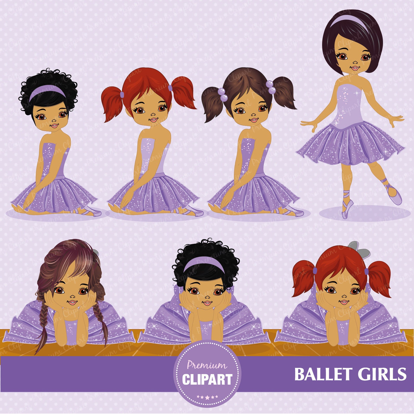 ballerina clipart, ballerina clip art, african american ballerina, ballet clipart, ballerina invitation, commercial use - ca317