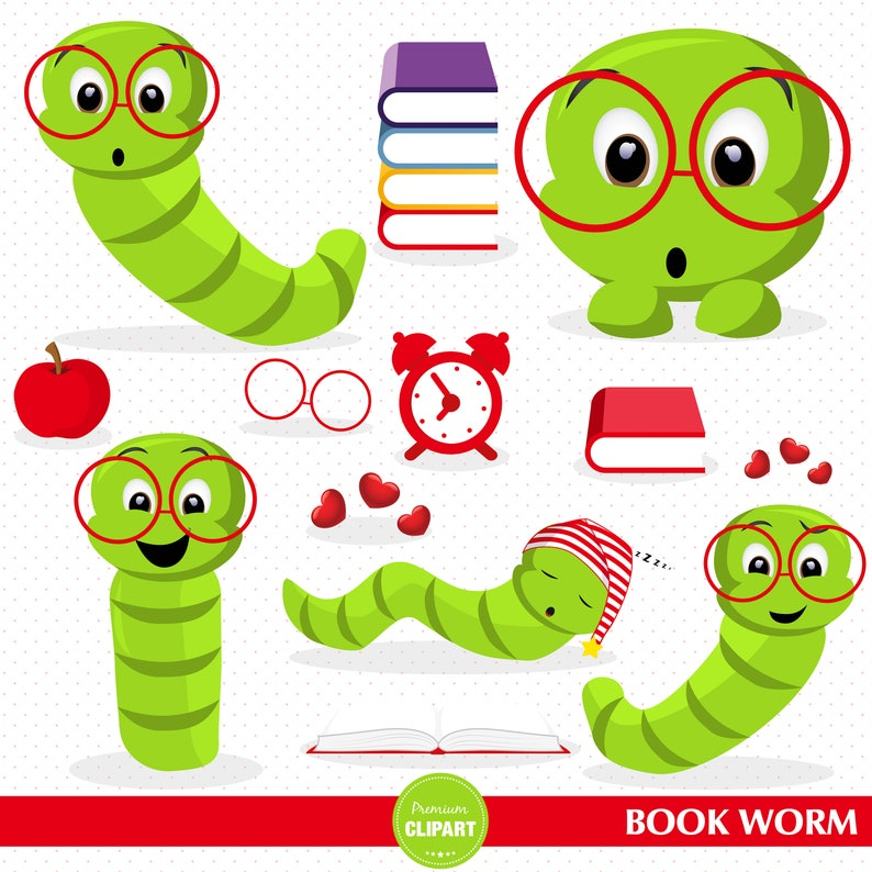 school clip art educational images CA465 commercial use Book worm clipart back to school clipart