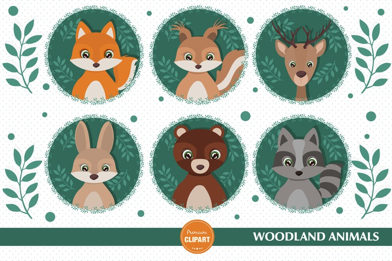 Woodland Animals Clipart Woodland Baby Shower Clipart Baby Etsy