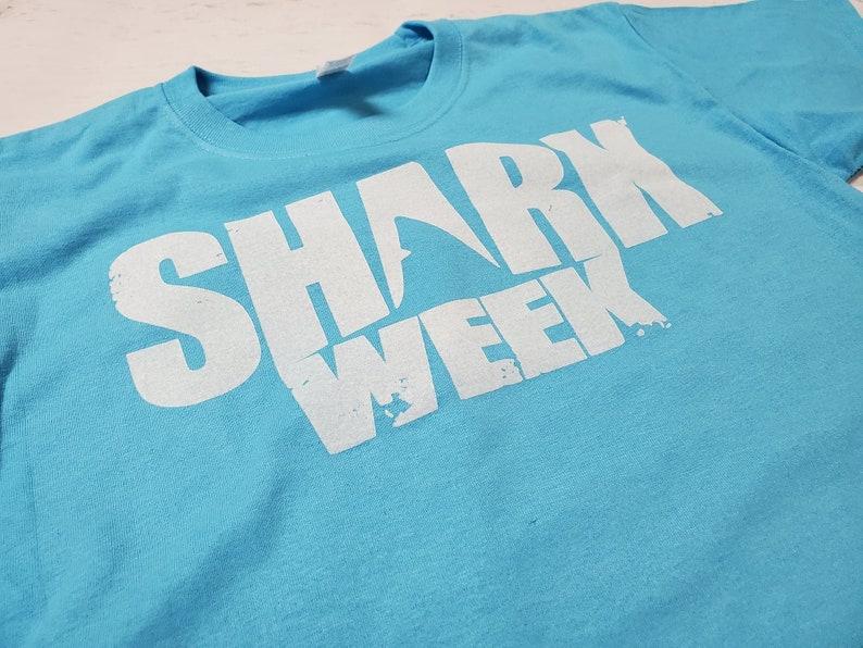 wildlife Summer ocean animals knowledge Youth Unisex Shark Week shark awareness child Aquatic Blue Graphic Tee Shirt surf beaches