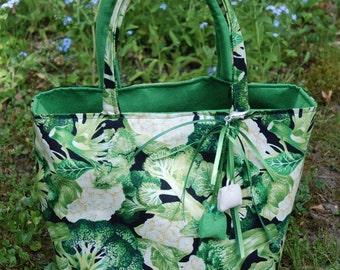 Handle bag, tissue of editors, pattern flowers psychedelic UNIQUE PIECE, REVERSIBLE