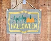Halloween sign with rope hanger - Happy Halloween - rustic wood sign - fall decor - distressed wood sign with rope