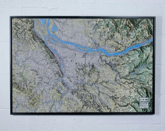 "Portland Oregon 24x36"" Canvas Map"