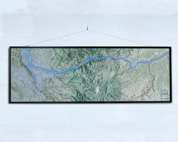 """Columbia Gorge 20x60"""" Canvas Map"""