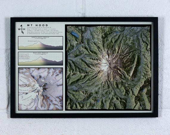 Mt Hood, 12x18 inch Mountain Map