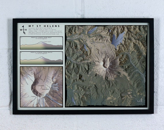 """Mt St Helens, 12x18"""" Mountain Map"""