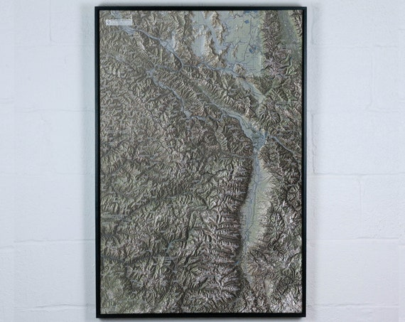 Bitterroot Mountains, 24x36 inch Canvas Map