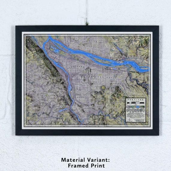 """Portland, Oregon 12x16"""" Map"""