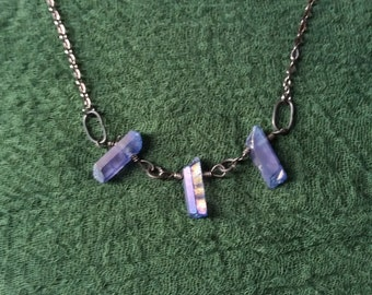 Triple blue rainbow quartz necklace