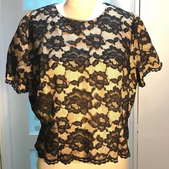 Vintage 40's 50's Black Netting Lace Nude Satin Li
