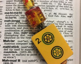 Bakelite Mahjong Mah Jongg Mah Jong Tile Keychain Vintage 2 Dot Double Layer Butterscotch Black Hand Carved OOAK Upcycled Split Ring