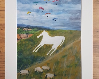 Westbury White Horse and hand gliders art print
